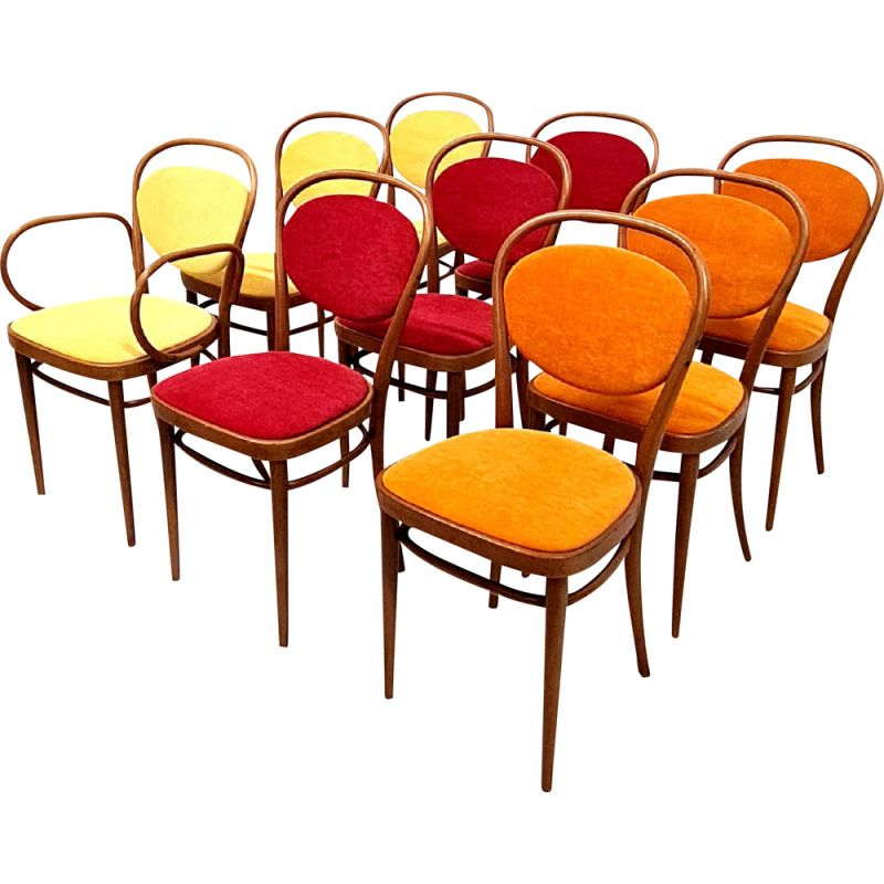 Set of 9 vintage Thonet 215 P dining chairs, Austria 1970s