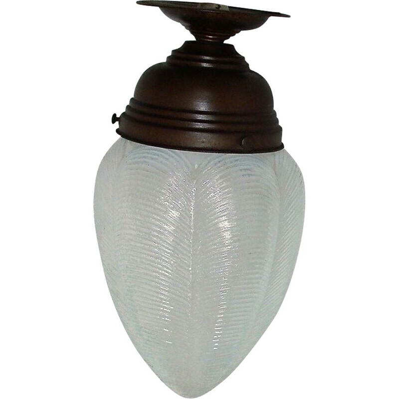 Mid century brass and glass pendant lamp, 1920s