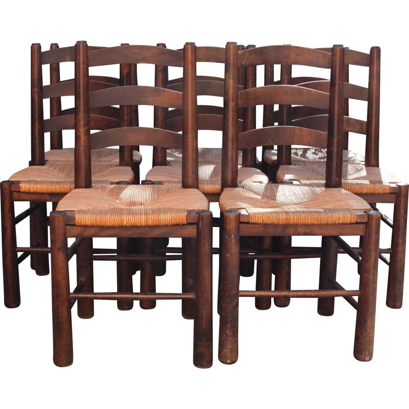 Set of 8 vintage wood and straw chairs by Georges Robert, 1950
