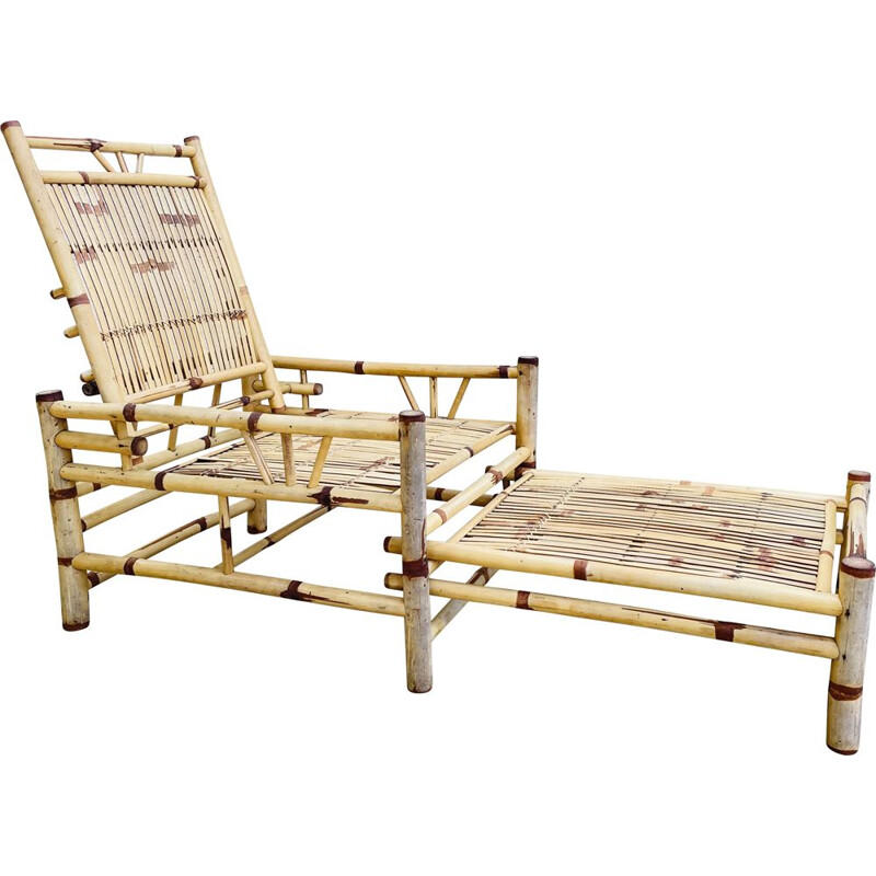 Vintage Cube bamboo lounge chair