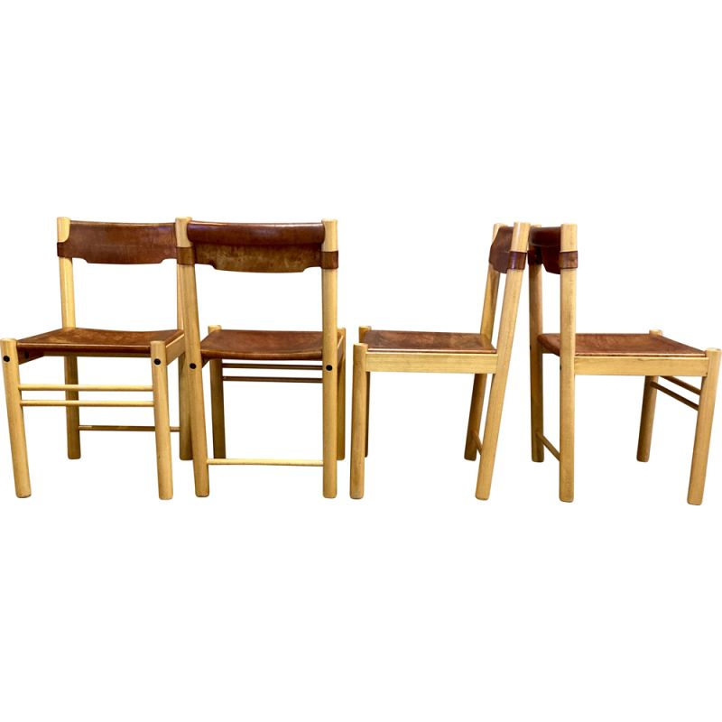 Set of 4 vintage Sede chairs in leather and beechwood for Ibisco, 1960