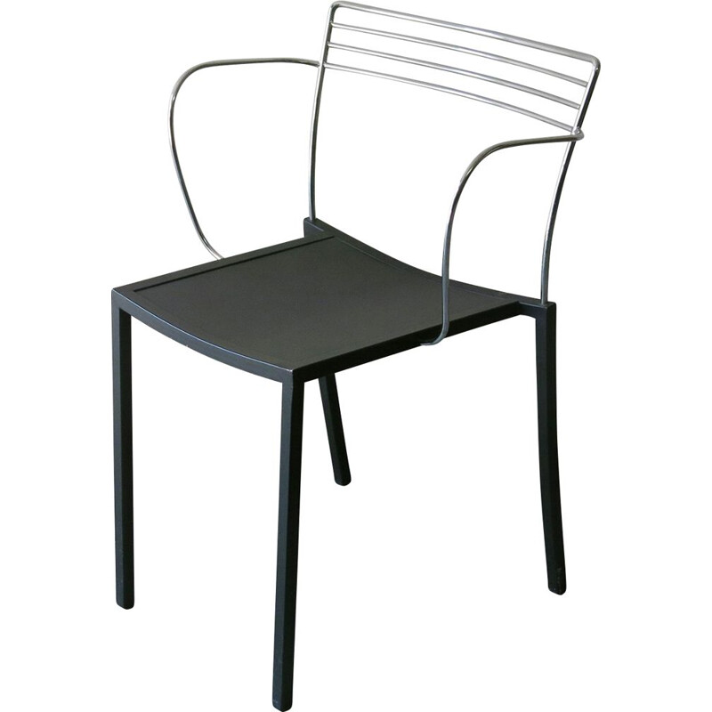 Piccolo vintage chair in black lacquered metal by Pascal Mourgue for Fermob, 1990