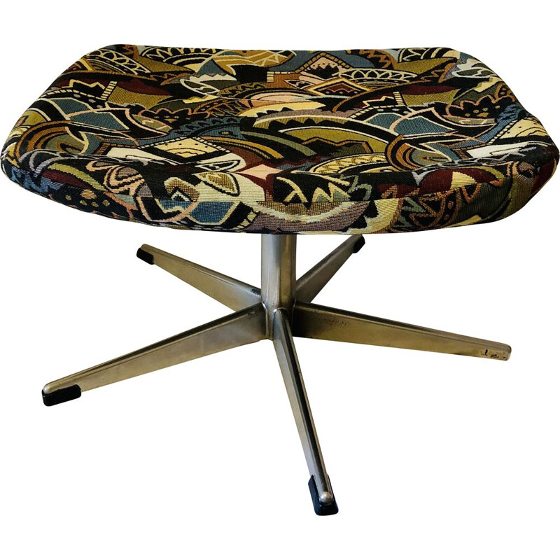 Vintage metal and fabric swivel footrest, 1960-1970