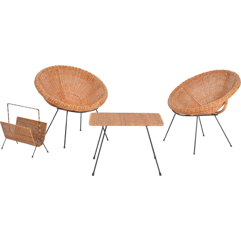 Set of Italian mid century rattan bowl chairs with side table and magazine rack