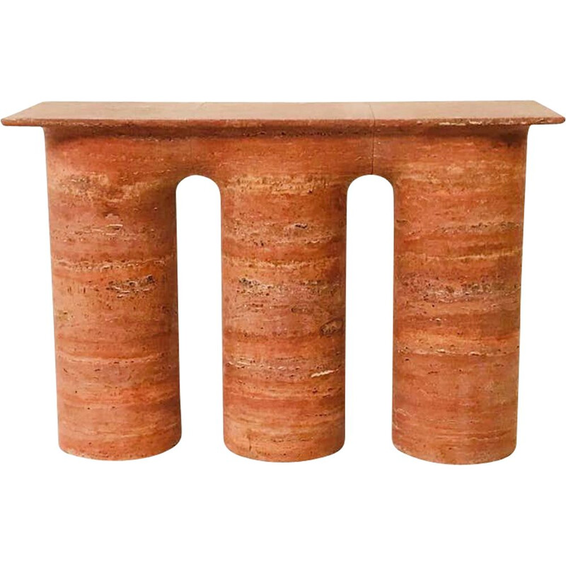 Vintage contemporary red travertine console, Italy