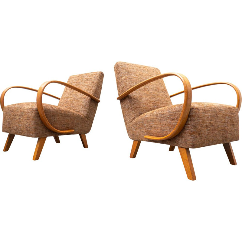 Pair of vintage wood and fabric armchairs model 410 by Jindrich Halabala, Czech 1940s