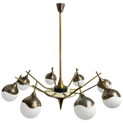 Italian chandelier in aluminium and brass - 1960s
