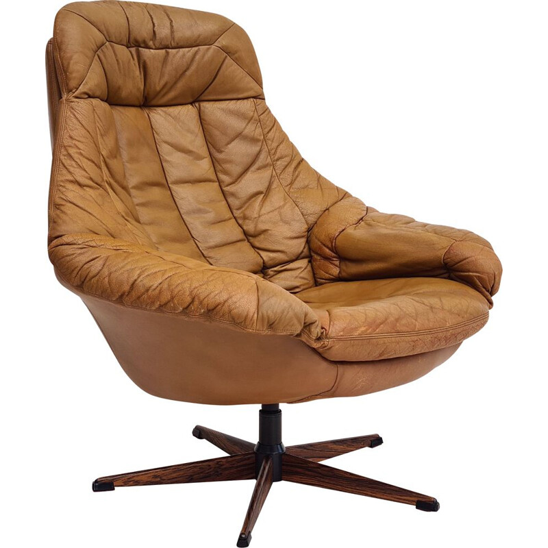 Danish vintage leather swivel armchair by H.W.Klein for Bramin, 1970s