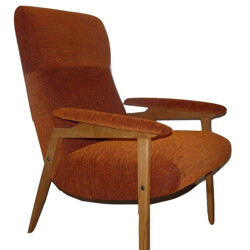 Compass legs armchair in beechwood and orange fabric - 1970s