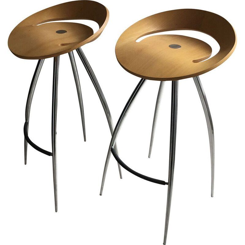 Pair of vintage Lyra bar stools by Mira Design Group Italia for Magis