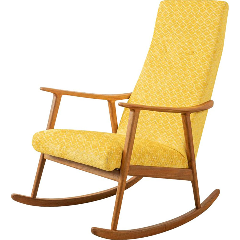Mid century teak and yellow fabric rocking chair, Germany 1950s