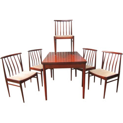 Set of 5 Vamo Soderborg chairs and rosewood table, Arne VODDER - 1960s