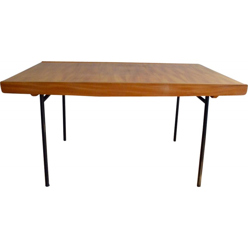 meuble tv table in elm and black metal pierre guariche 1950s