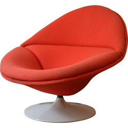 F553 armchair in fiber glass and red fabric, Pierre PAULIN - 1963