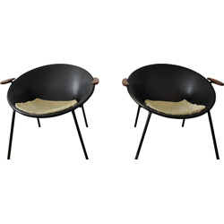 """Pair of """"Balloon"""" chairs in leather and metal, Hans OLSEN - 1950s"""
