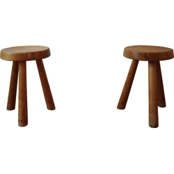 """Pair of """"Les Arcs"""" stools in pine wood, Charlotte PERRIAND - 1960s"""