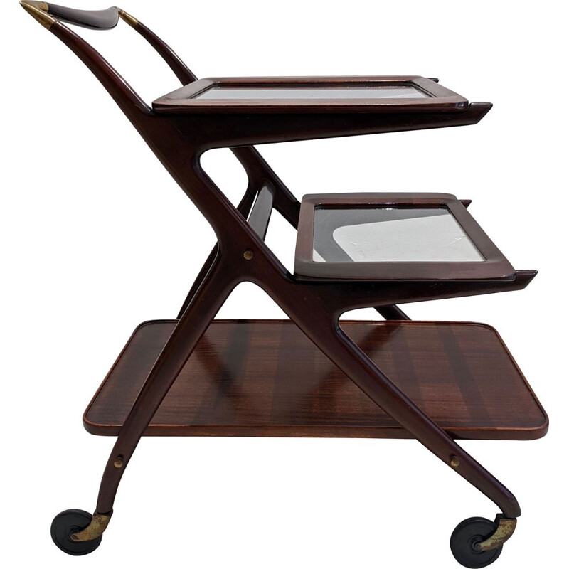 Vintage mahogany trolley by Cesare Lacca