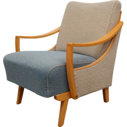 Bicolor blue and beige armchair in wood - 1950s