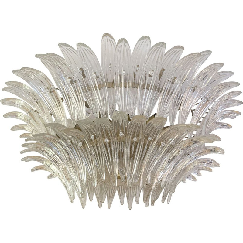 Vintage Palmette Murano glass chandelier by Barovier & Toso, Italy 1970s