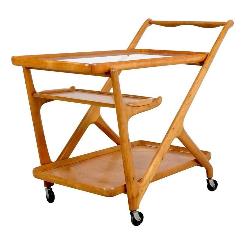 Cassina tea trolley cart in walnut, Cesare LACCA - 1950s