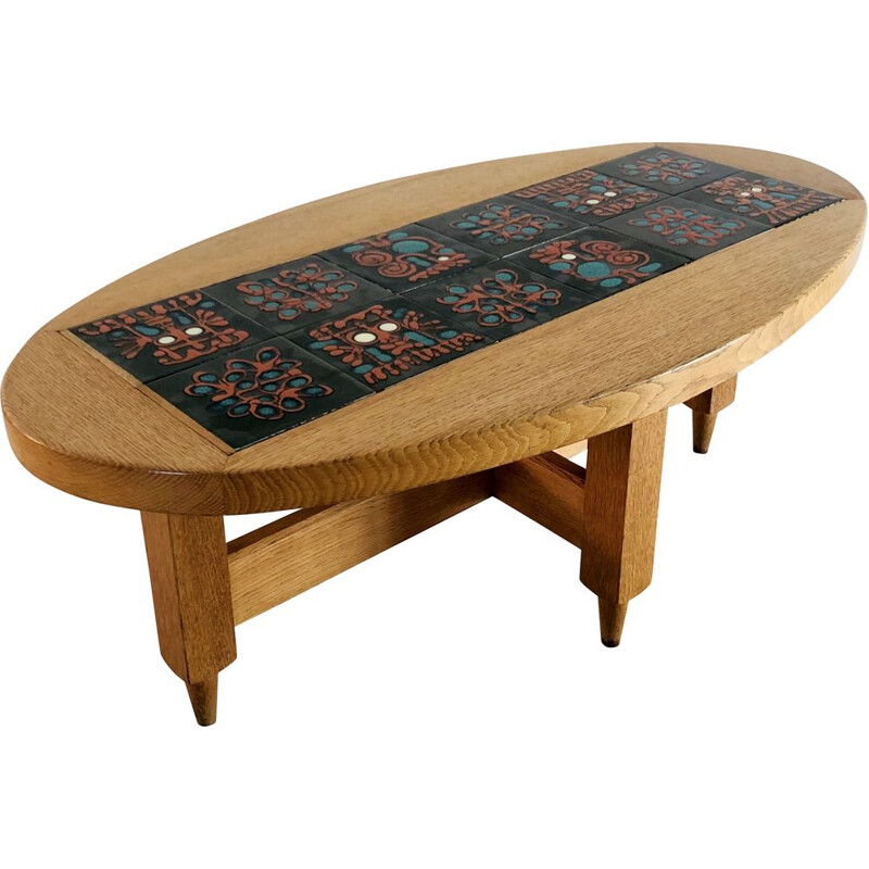 Vintage oval coffee table in solid light oakwood by Guillerme and Chambron, France 1960
