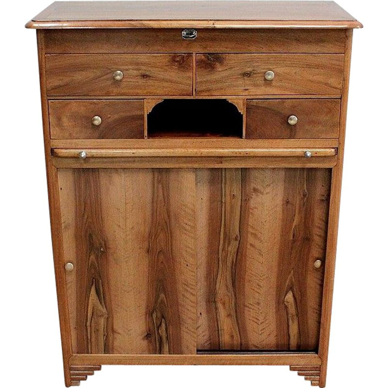 Vintage solid walnut support-height trade cabinet, 1940