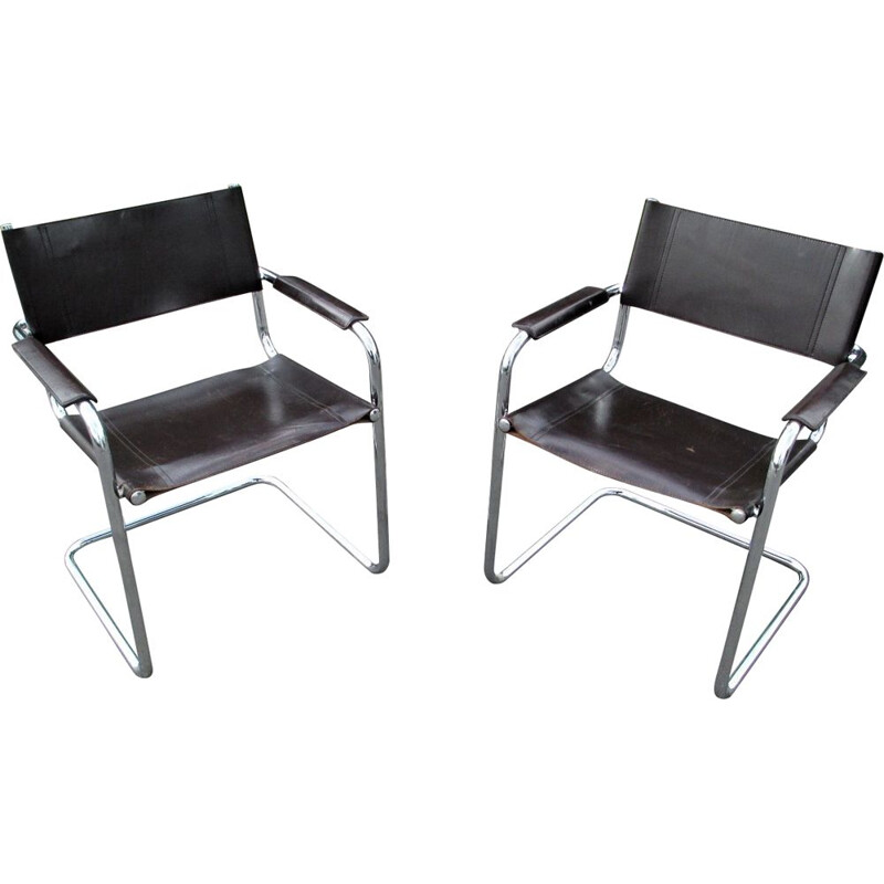 Pair of vintage metal and leather armchairs, 1970s