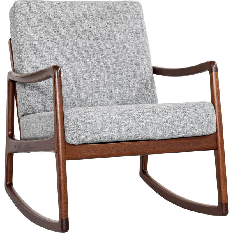 Mid century Danish rocking chair in teak by Ole Wanscher for France & Søn, 1960s