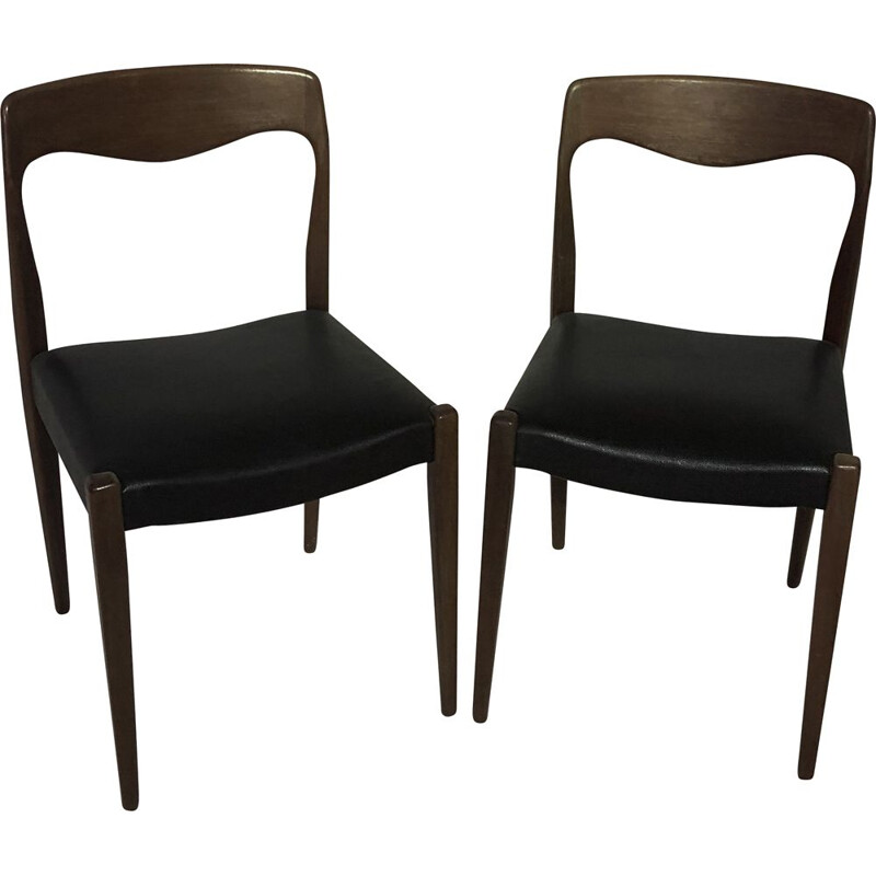 Pair of vintage chairs in skai and teak by Niels Otto Moller