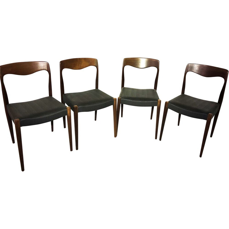 Set of 4 vintage teak and skai chairs by Niels Otto Moller