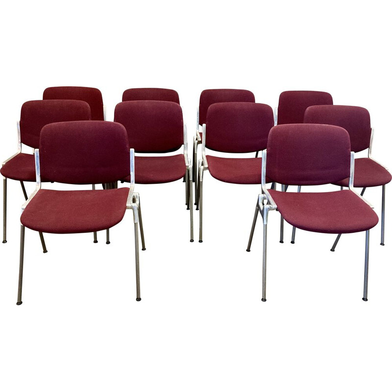 Set of 10 vintage stackable chairs by Giancarlo Piretti for Castelli