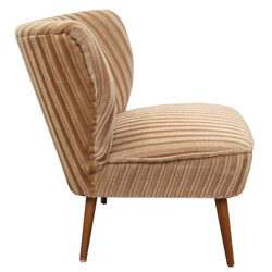Cocktail chair in beige velvet - 1950s