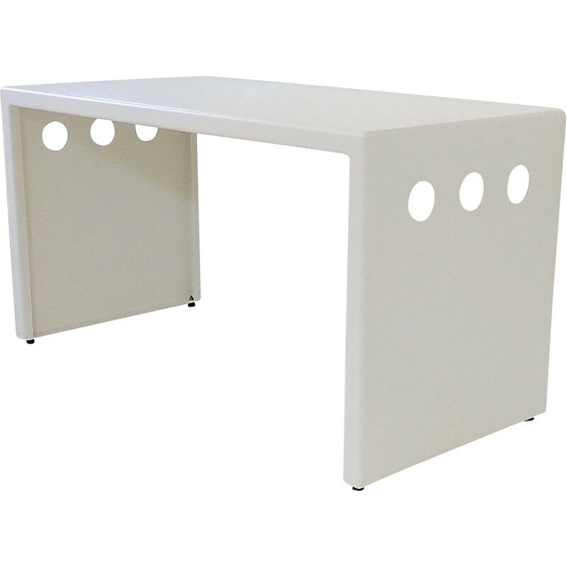 Vintage white lacquered metal console, France 1980