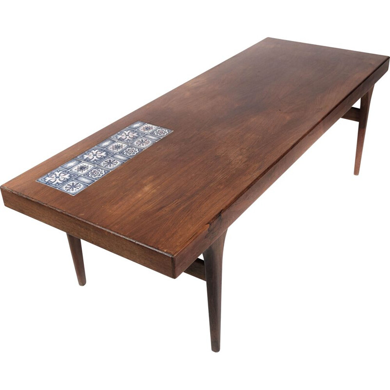 Vintage coffee table in rosewood with blue tiles by Johannes Andersen for Silkeborg Furniture, 1960s