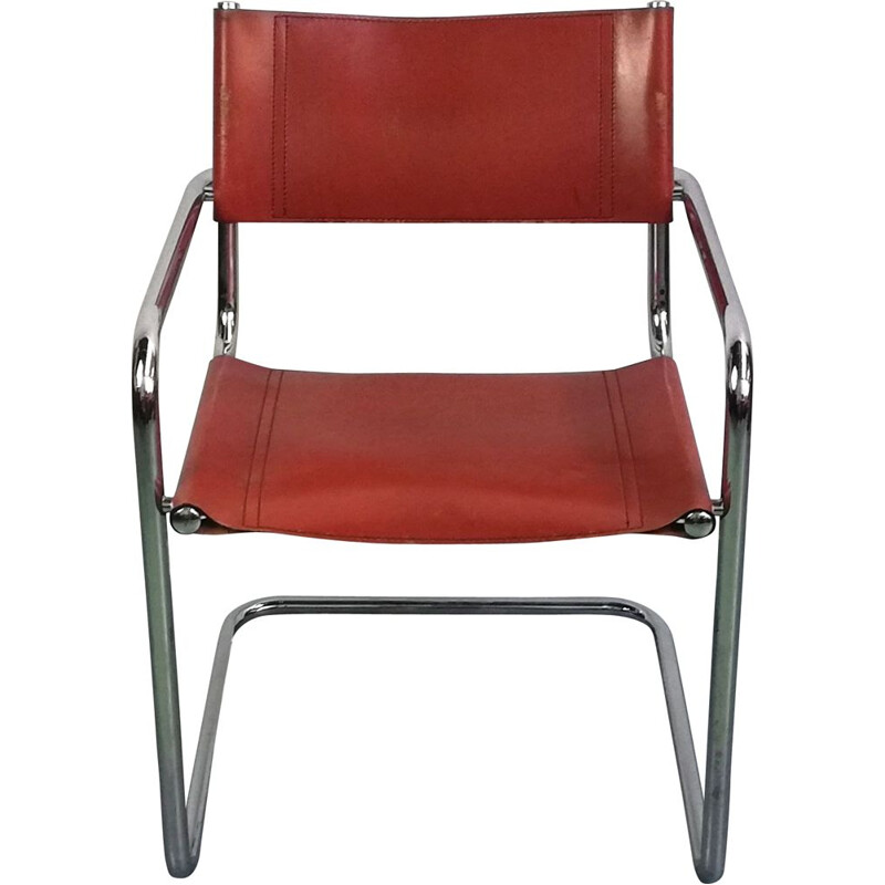 Vintage B34 chair in leather and chromed aluminium by Marcel Breuer