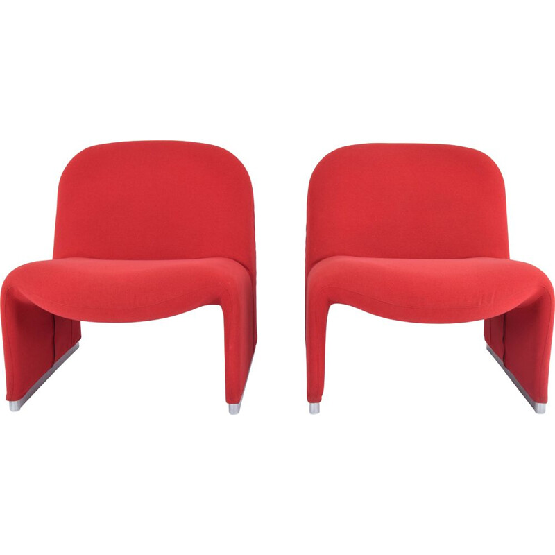 Pair of vintage red wool Alky armchairs by Giancarlo Piretti for Castelli, Italy 1970s