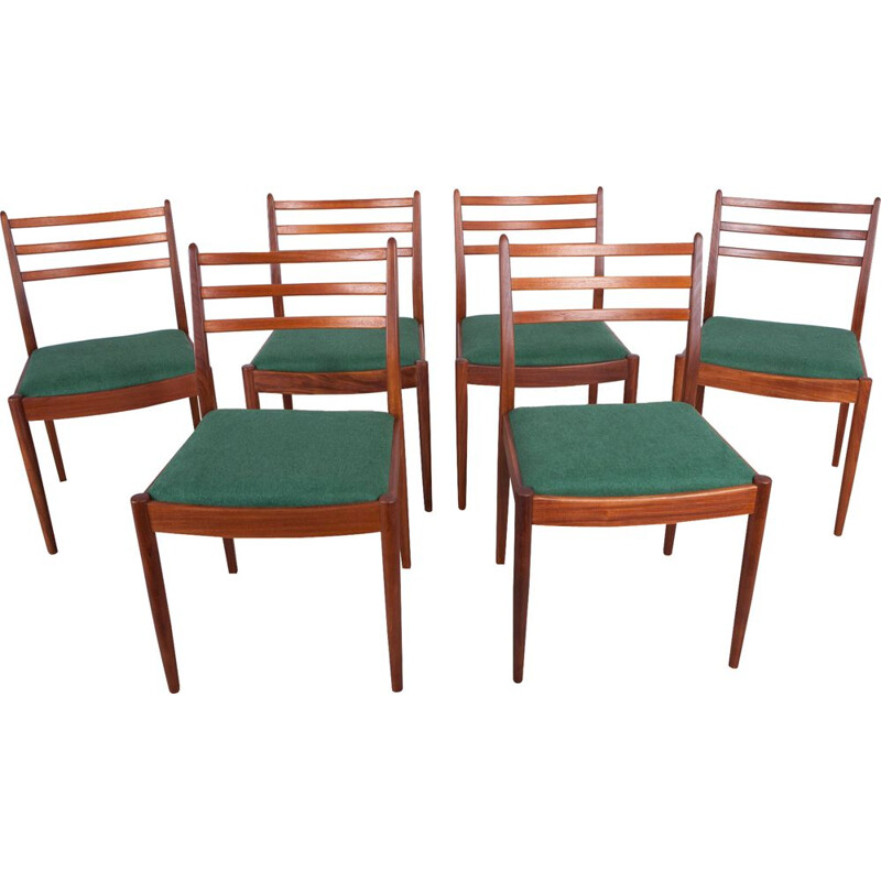 Set of 6 vintage fabric and teak dining chairs by Victor Wilkins for G-Plan, 1960s