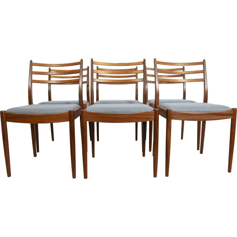 Set of 6 vintage teak and blue fabric dining chairs by Victor Wilkins for G-Plan, United Kingdom 1960s
