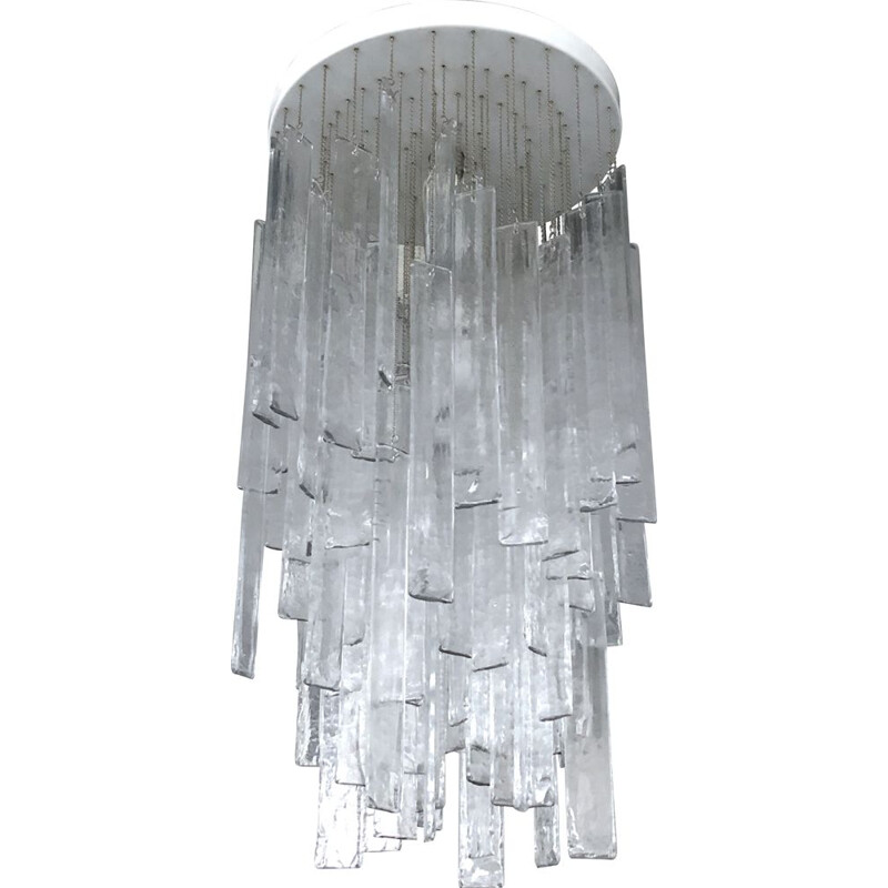 Vintage clear Murano glass elements chandelier for Mazzega, 1970s