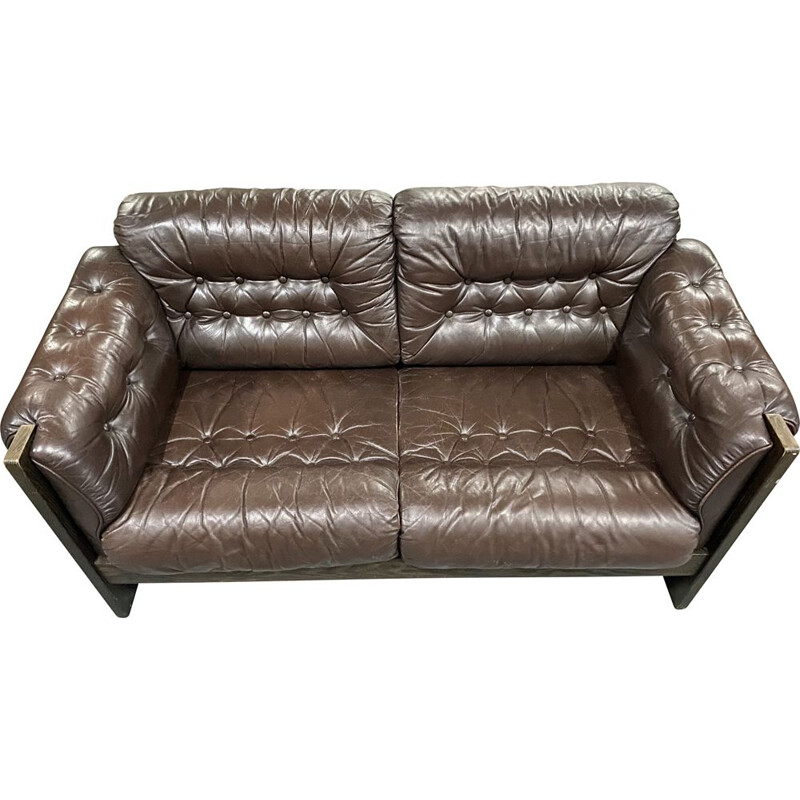 Set of Danish vintage 2 seater brown leather sofa and armchair, 1970s