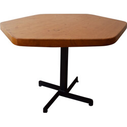 Pentagonal table in pine, Charlotte PERRIAND - 1960s