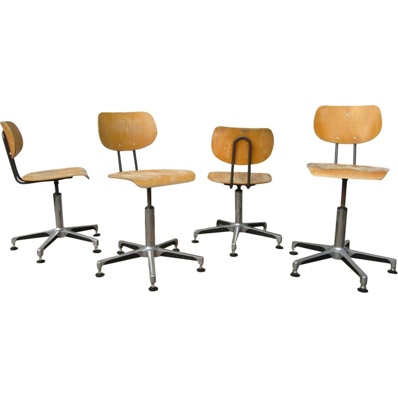 Set of 4 industrial Tubax swivel chairs - 1980s