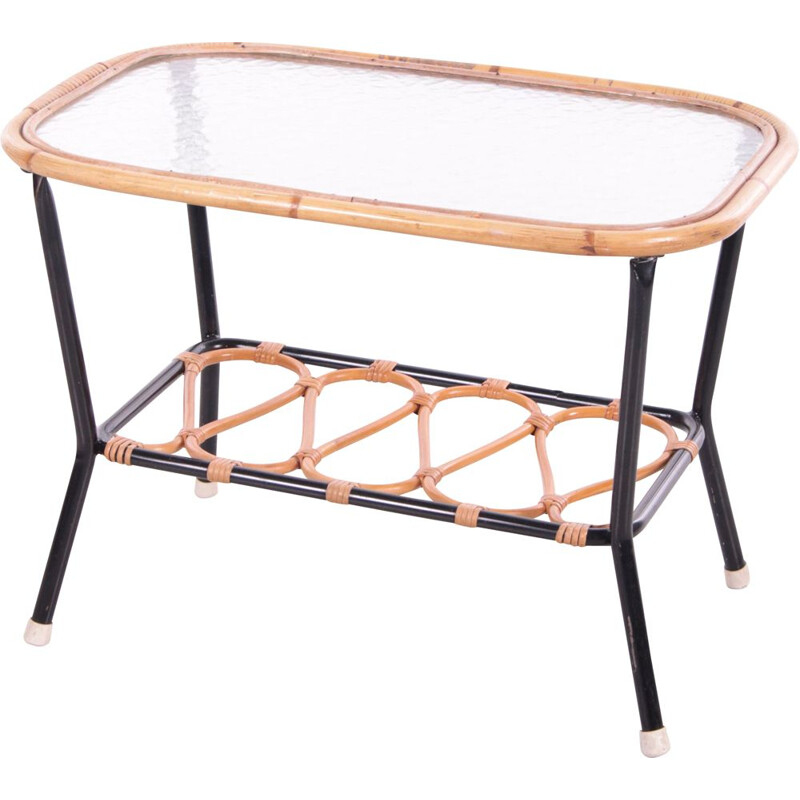 Vintage bamboo and glass coffee table by Rohe Noordwolde, 1950s