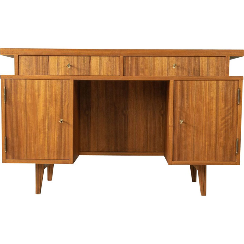 Vintage walnut desk with two sliding glass doors, Germany 1950s