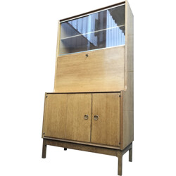 Oakwood secretaire in oakwood and glass - 1960s