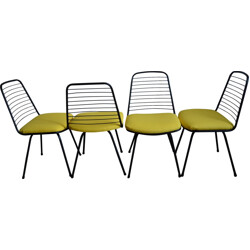 Set of 4 chairs in metal and yellow fabric, Jean-Louis BONNANT - 1956