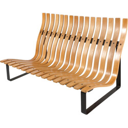 Artifort slatted bench in metal and plywood, Kho LIANG LE - 1960s