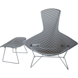 "Knoll ""Bird"" armchair and footrest, H. BERTOIA - 1950s"