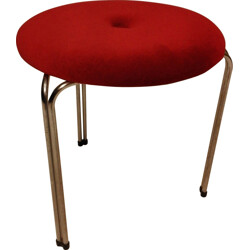 Red velvet box stool - 1970