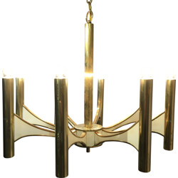 Italian chandelier in brass and lacquered metal, Gaétano SCIOLARI - 1970s